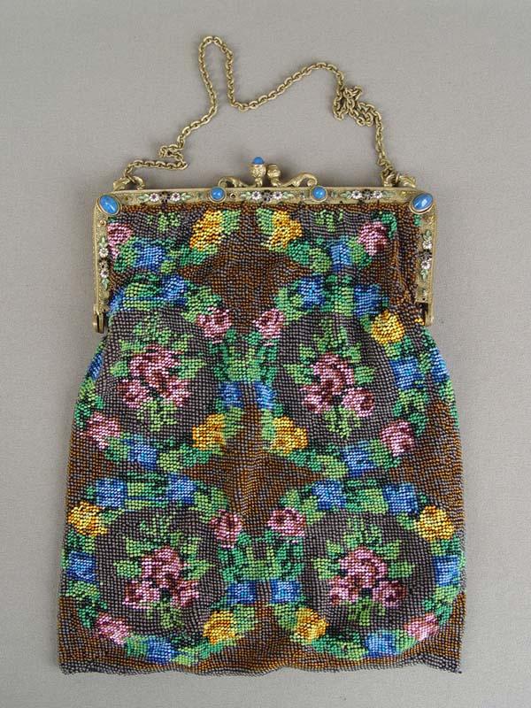Сумочка, бисер, латунь, эмаль, 1930-егоды, размер:22×16см