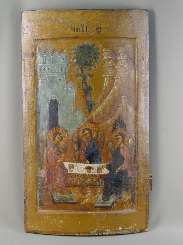 Икона «Троица Ветхозаветная изпраздничного чина иконостаса», дерево, левкас, темпера, Русский Север, XVIIвек, размер: 59,8×32,5см. Атрибуция.