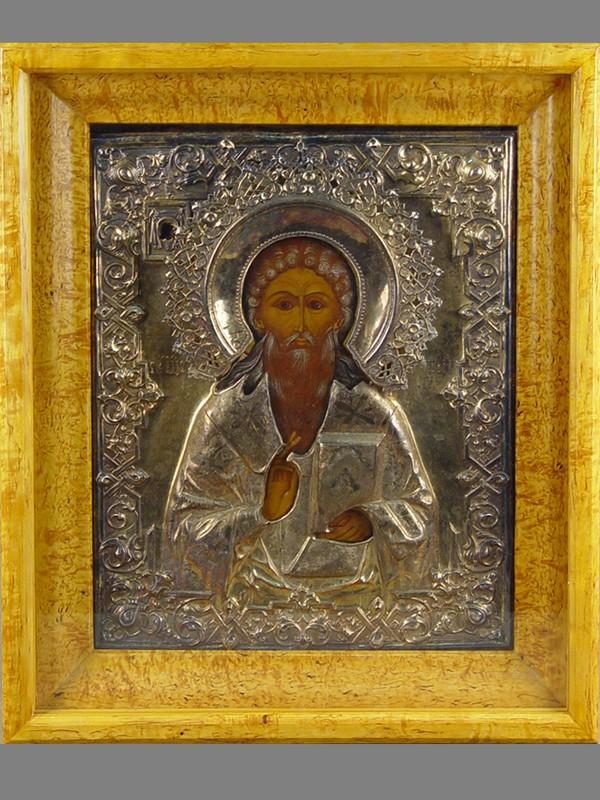Икона вкиоте «Святой Харлампий», дерево, левкас, темпера, оклад— серебро 84пробы, размер иконы:36,5×29,5см