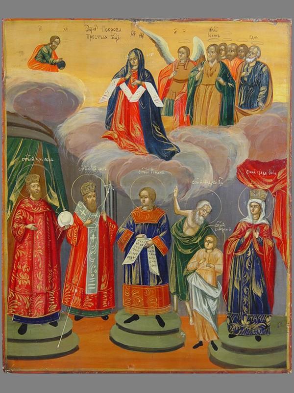 Икона «Покров Пресвятой Богородицы», дерево, левкас, темпера, XIXвек, размер:27×22см