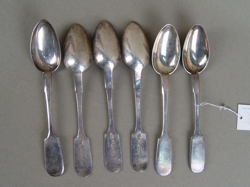 Ложки чайные (6штуки), серебро 84пробы, Санкт-Петербург, XIXвек, общийвес— 131,6грамма