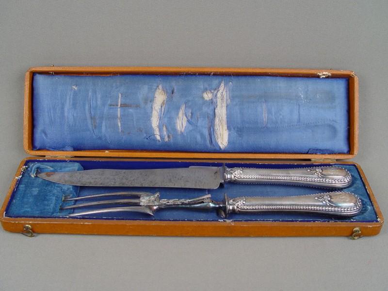 Набор охотничий длямяса «Кабан» вфутляре, серебро пореактиву, сталь. Париж, начало XXвека