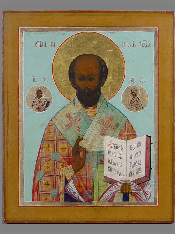 Икона «Святой Николай Чудотворец», дерево, левкас, темпера. Мстера, конецXIXвека, размер: 22×18см