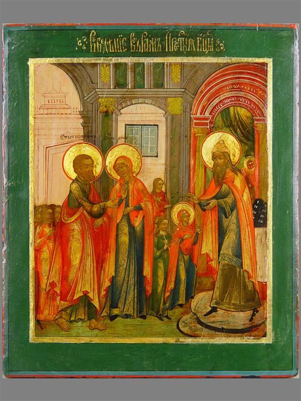 Икона «Введение вохрам Пресвятой Богородицы», дерево, левкас, темпера, XIXвек, размер: 30×26см