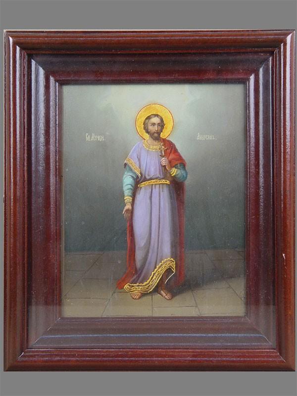 Икона вкиоте «Святой Мученик Андриан», дерево, масло, темпера, конец XIXвека, размер: 22×18см