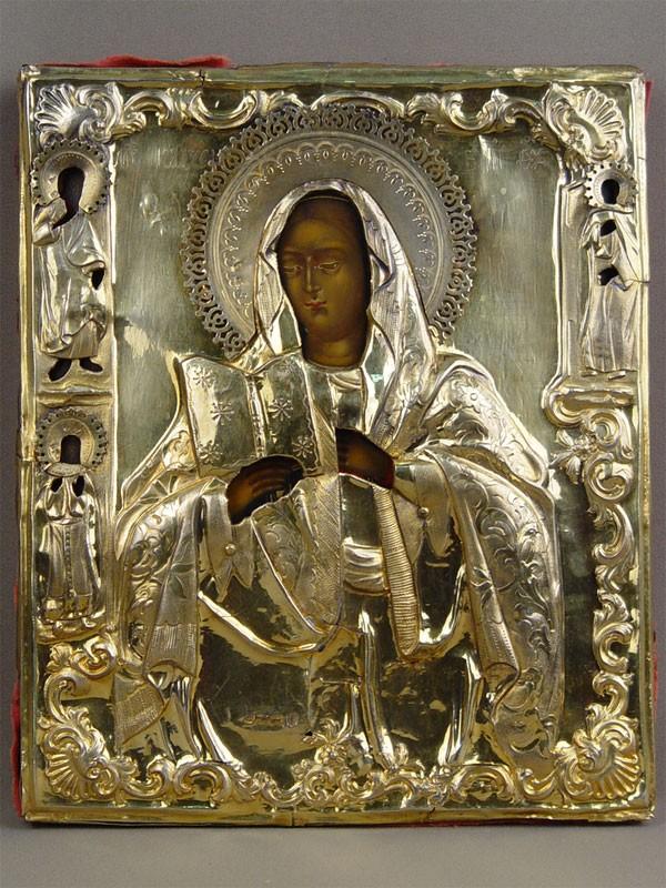 Икона «Пресвятая Богородица Калужская», дерево, левкас, темпера, начало XIXвека, размер: 27,5×23см; оклад— серебро 84пробы, золочение