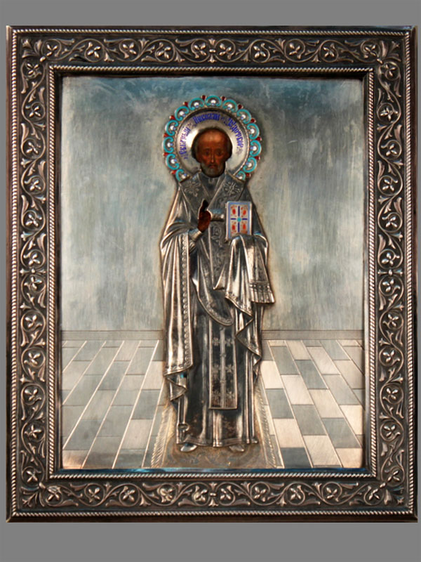 Икона «Святой Николай Чудотворец», дерево, темпера, оклад— серебро 84пробы, конец XIX— начало XXвека, размер иконы: 27×22,5см