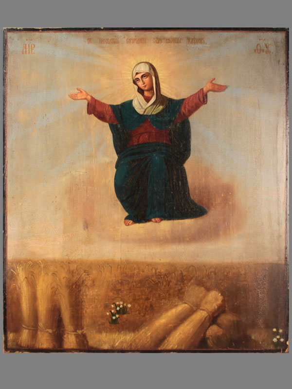 Икона Божьей Матери «Спорительница хлебов», дерево, масло, конец XIX— начало XXвека, размер: 53×46,5см
