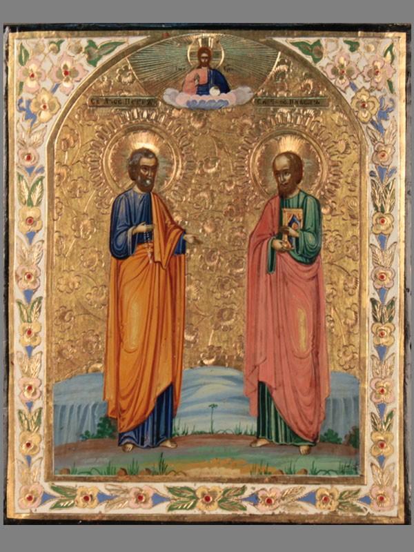 Икона вкиоте «Святые Апостолы Петр иПавел», дерево, темпера, конец XIXвека, размер: 22×18см