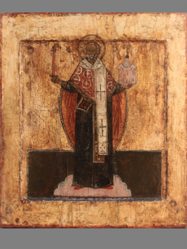 Икона «Святой Николай Чудотворец (Можайский)», дерево, левкас, темпера, Центральная Россия, конец XVIвека, размер: 28,2×24,8см.