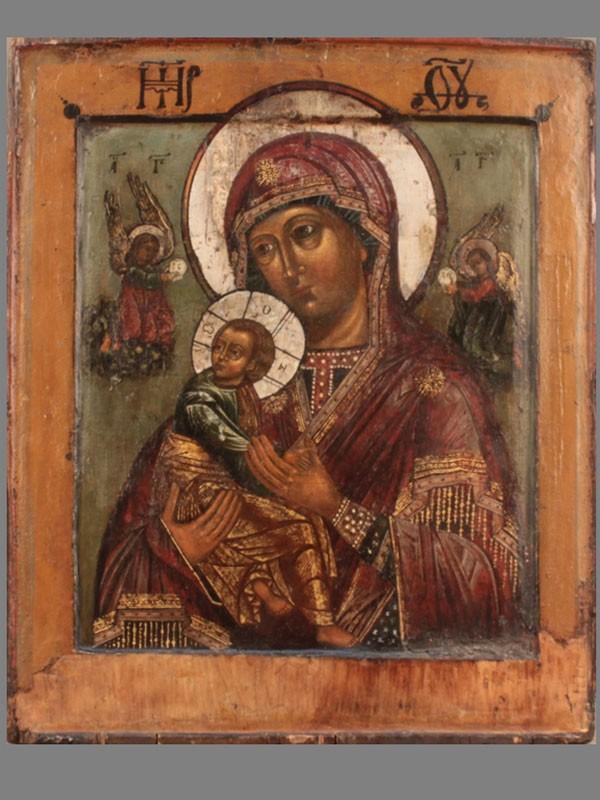 Икона «Пресвятая Богородица Страстная», дерево, темпера, конец XVIIвека, размер: 32×26см