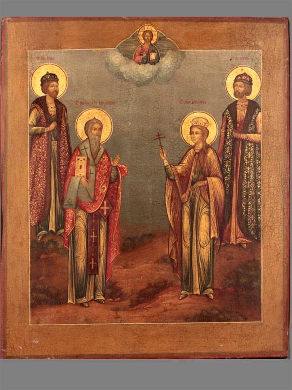 Икона «Святые Борис иГлеб, Великомученица Екатерина, Святой Харлампий», дерево, темпера; оклад— серебро 84пробы, золочение, жемчуг; 1867год, размер: 31,5×27см