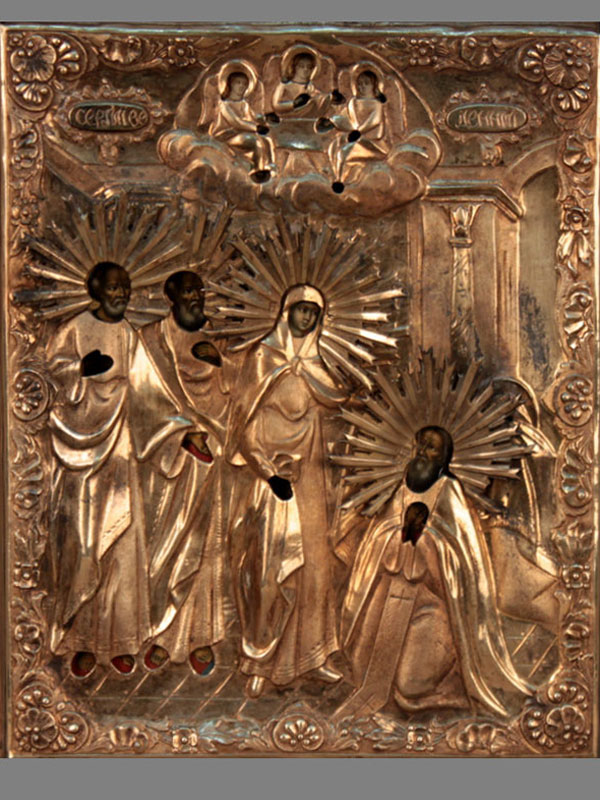 Икона вкиоте «Явление Пресвятой Богородицы Святому Преподобному Сергию Радонежскому», дерево, темпера; оклад— серебро 84пробы; Москва, 1840год, размер: 22×17,5см