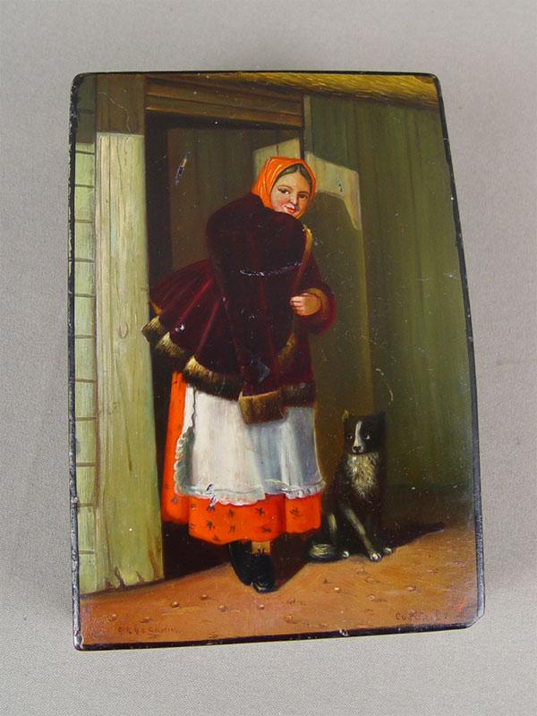 Шкатулка «Крестьянка ссобакой», папье-маше, лаковая роспись. Федоскино, автор— Сидоров, размер: 14,5×10×4,5см
