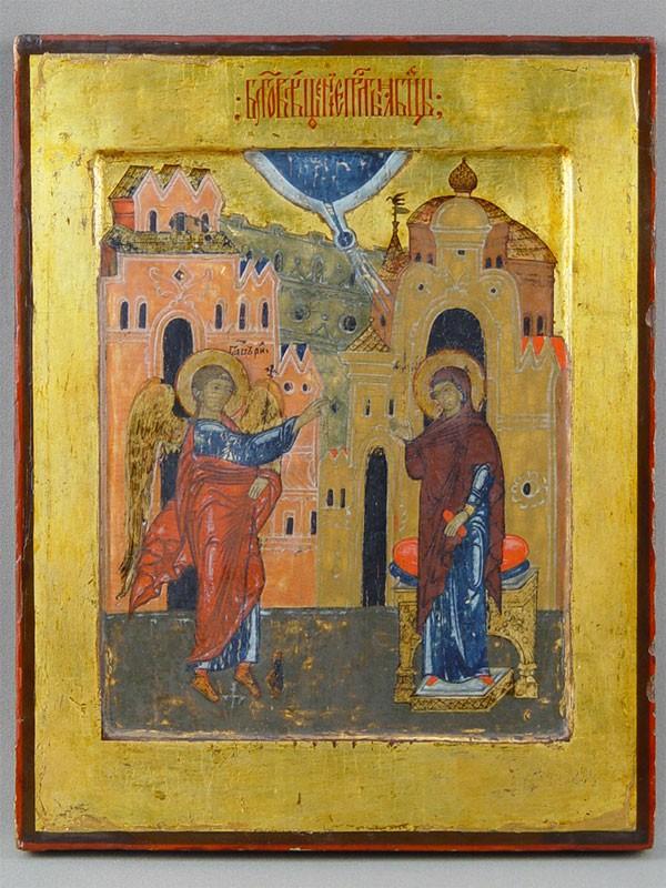 Икона «Благовещение Пресвятой Богородицы», дерево, левкас, темпера. Русский Север, XVIвек, размер: 31,5×25см. Атрибуция.