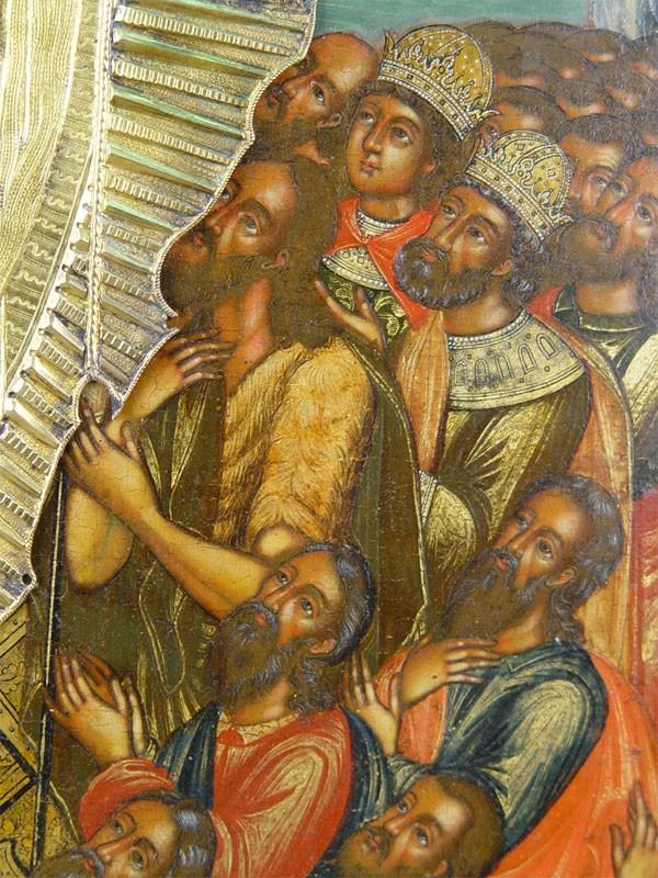 Икона «Воскресение Христово», дерево, левкас, темпера. Оклад серебро 84пробы, золочение, чеканка, гравировка, 1765год. Москва, конец XVII-начало XVIIIвека, Оружейная палата, размеры: 54×44см. Атрибуция.