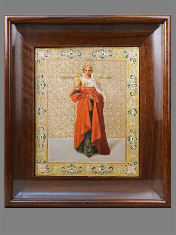 Икона в киоте «Святая мученица Александра», кипарис, масло, сусальное золото, чеканка, канфорение, холодные эмали. 1893год, иконописец— П.Н.Грязнов, размер: 27×22см.