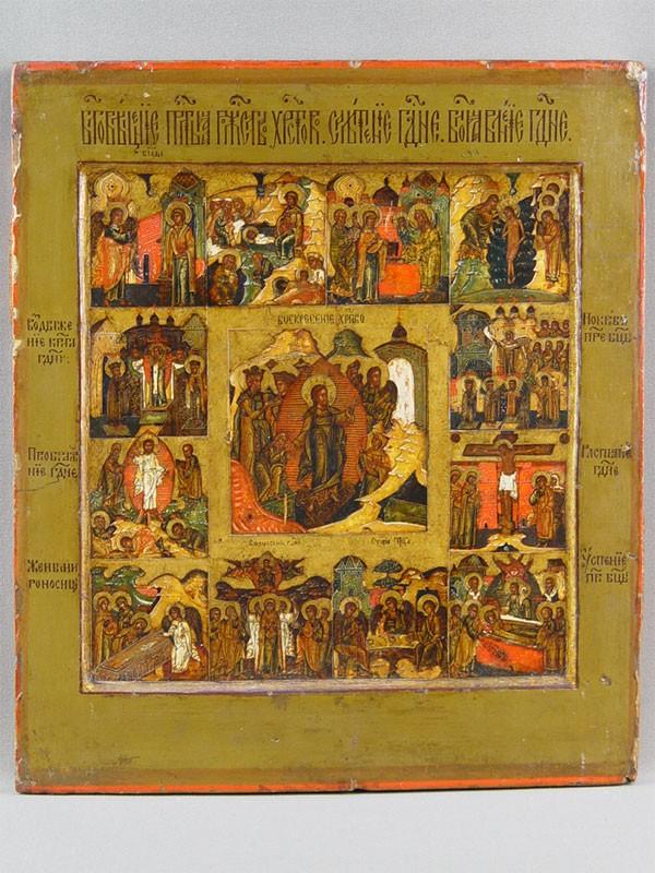 Икона «Воскресение Христово сПраздниками», дерево, левкас, темпера. Центральная Россия, середина XVIIвека, размер: 30,5×26,5см.