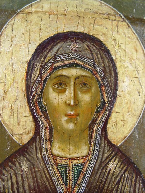 Икона «Пресвятая Богородица Знамение», дерево, левкас, темпера. Москва, круг мастеров Оружейной палаты, конец XVIIвека, размер: 33,2×28,3см.