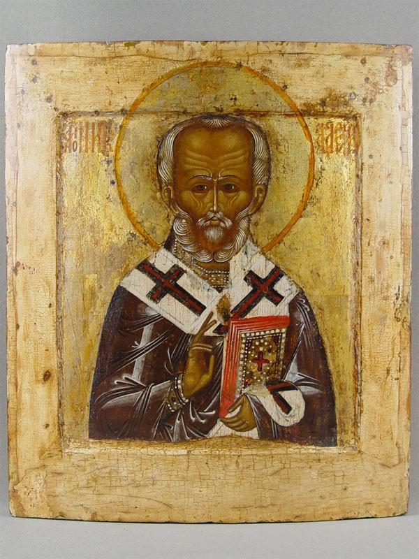 Икона «Святой Николай Чудотворец», дерево, левкас, темпера. Москва(?), конец XVIвека, размер: 31,3×27,3см.