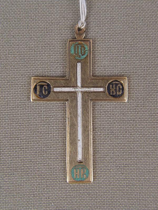Крест нательный, золото 56пробы, общий вес— 3,86г, эмаль