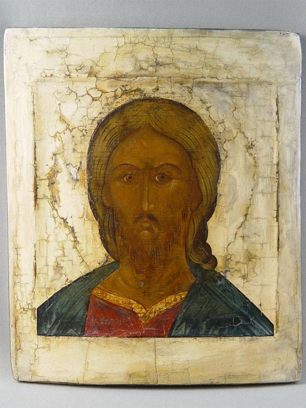 Икона «Христос Вседержитель», дерево, левкас, темпера, размер: 32×27см. Центральная Россия, конец XVIвека.
