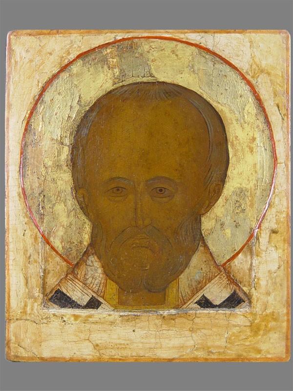 Икона «Святой Николай Чудотворец», дерево, левкас, темпера, вторая половина XVIвека, размер: 27×22,8см.