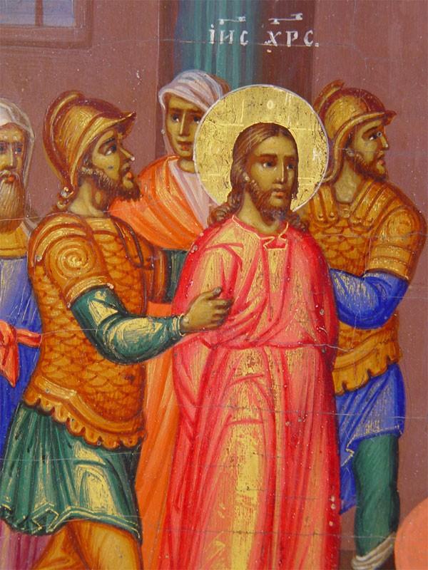 Икона «Приведение кПилату» («Христос перед Пилатом»), дерево, левкас, темпера, сусальное золото, начало XIXвека, размер: 32×27см