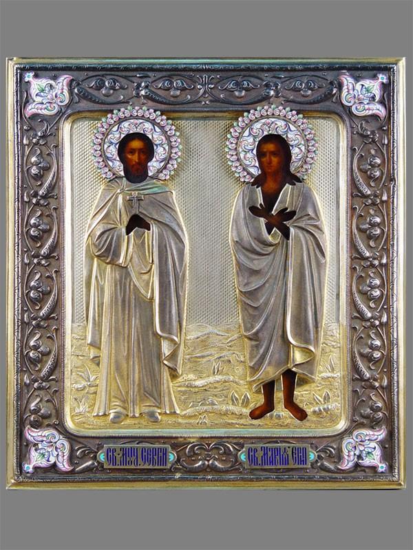 Икона «Святой Мученик Сергий иСвятая Мария Египетская», дерево, масло, левкас, темпера; оклад— серебро 84пробы, чеканка, канфарение, золочение, эмаль; начало XIXвека, размер: 31,5×27см