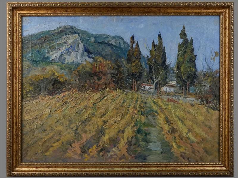 В.А.Фербер, «Виноградники вКрыму», холст, масло, 1960-е годы, размер: 45×60см