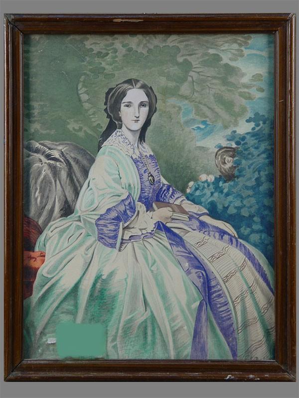 E.Roloba, «Женский портрет», бумага, акварель, размер (вокне): 35×27см