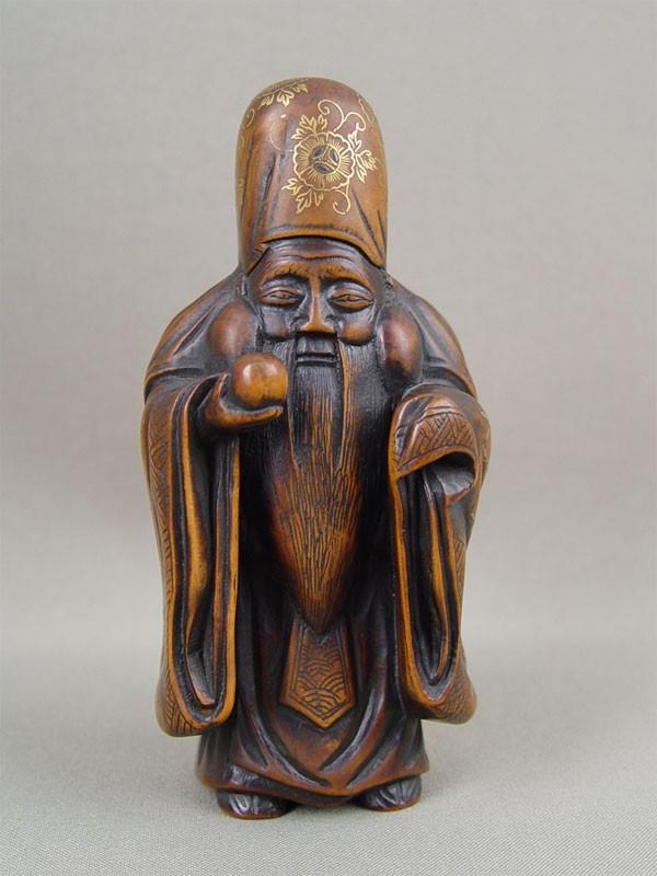 Фигура «Шоу-Син, бог долголетия», дерево, резьба, роспись. Китай, начало XXвека, высота— 14см