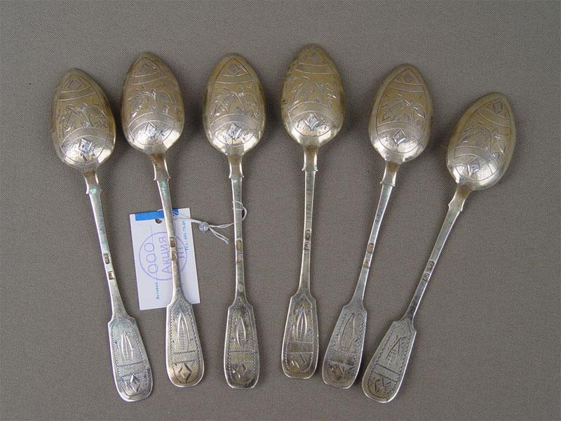 Ложки чайные (6штук), серебро 84пробы, гравировка, общий вес— 119г
