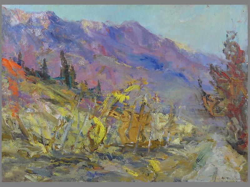 В.А.Фербер, «Осень вКрыму», холст, масло, 1961год, размер: 44×57,5см