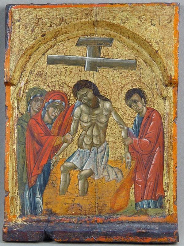 Икона «Снятие скреста», дерево, левкас, темпера. Греция, XVIвек, размер: 32,5×23,5см