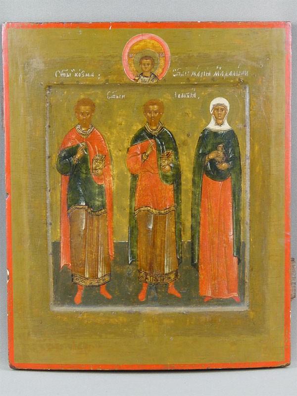 Икона «Святые бессеребренники Косьма иДамиан иравноапостольная Мария Магдалина», дерево, левкас, темпера. Строгановский мастер, конец XVIвека, размер: 31,7×26,2см.