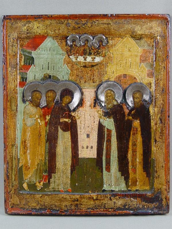 Икона «Явление Пресвятой Богородицы Святому Сергию Радонежскому», дерево, левкас, темпера; венцы— серебро. Начало XVIIвека, размер: 30×25см
