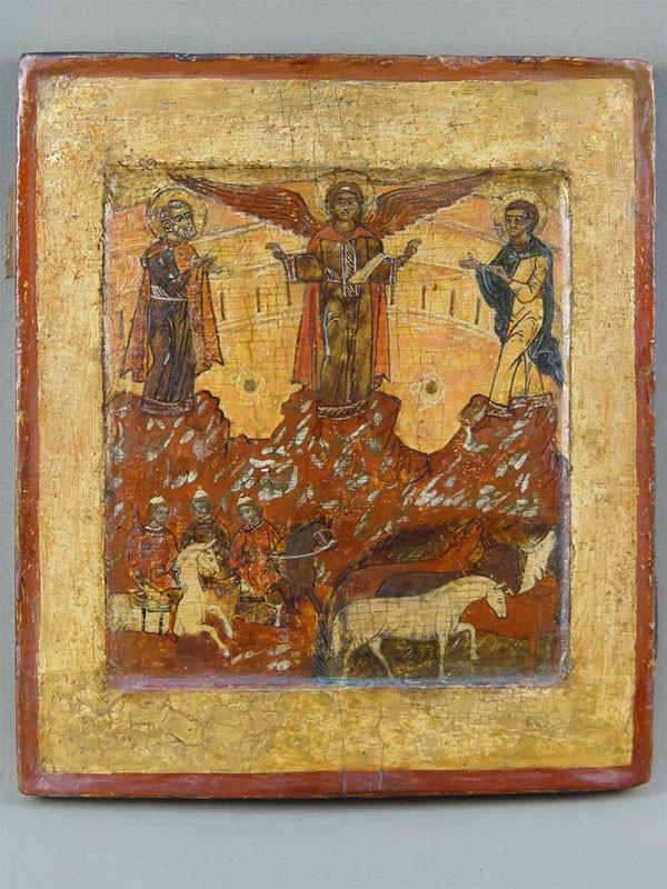 Икона «Чудо оФлоре иЛавре», дерево, левкас, темпера, XVIIвек, размер: 28×24,5см
