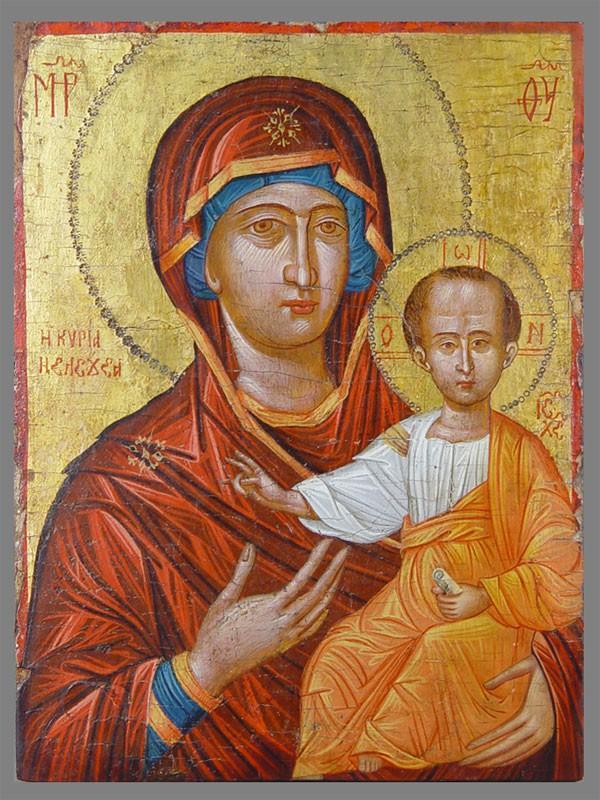 Икона «Богоматерь Одигитрия», дерево, левкас, темпера, золочение. Греция, конец XVIвека, размер: 35×26,5см