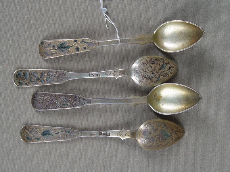 Ложки чайные (4шт.), серебро 84пробы, позолота, гравировка, общий вес— 98г, 1844год