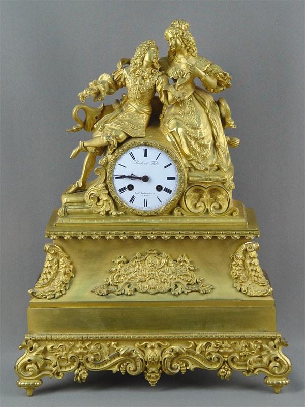 Антиквариат. старинные бронзовые Часы каминные «Дама и кавалер», антикварная бронза