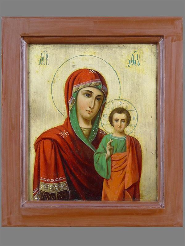 Икона двухсторонняя «Пресвятая Богородица Казанская», «Воскресение Христово», живопись пометаллу, начало XXвека, размер: 32×28см