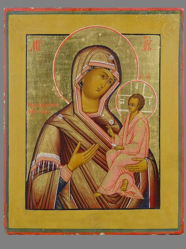 Икона «Пресвятая Богородица Тихвинская», дерево, левкас, темпера, сусальное итвореное золото. XIXвек, размер: 22×18см