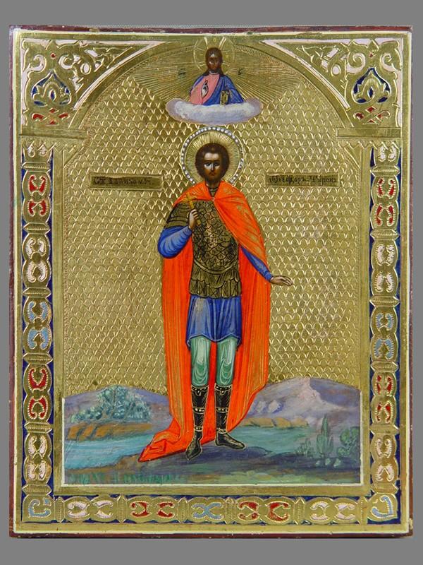 Икона вкиоте «Святой Федор Тирон», дерево, левкас, темпера, сусальное итвореное золото, чеканка, холодные эмали. Мстёра, XIXвек, размер иконы: 18×14см