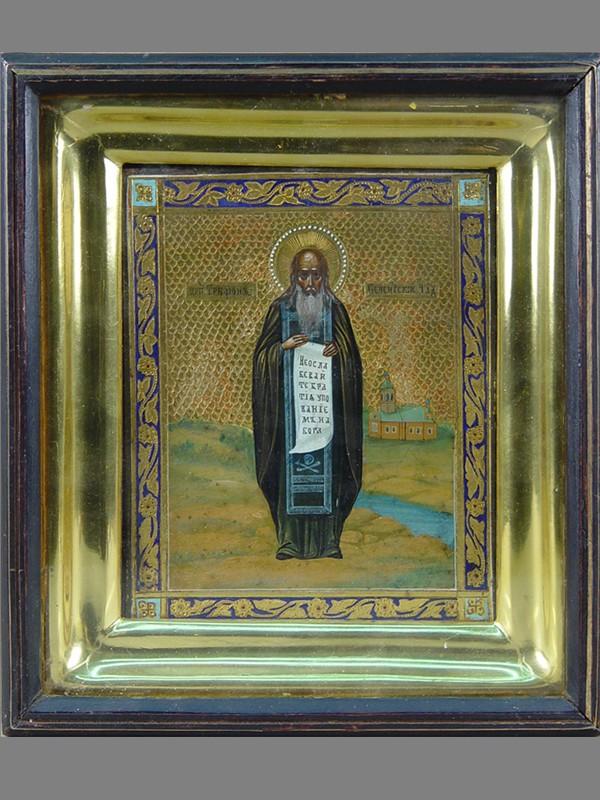 Икона вкиоте «Святой Преподобный Трифон Печенгский Чудотворец», дерево, левкас, темпера, сусальное итвореное золото, чеканка, холодные эмали. XIXвек, размер иконы: 18×14см