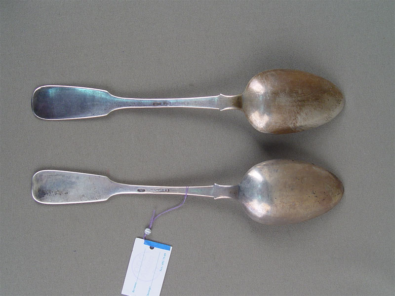 Ложки столовые (2шт.), серебро 84пробы, общий вес— 130г