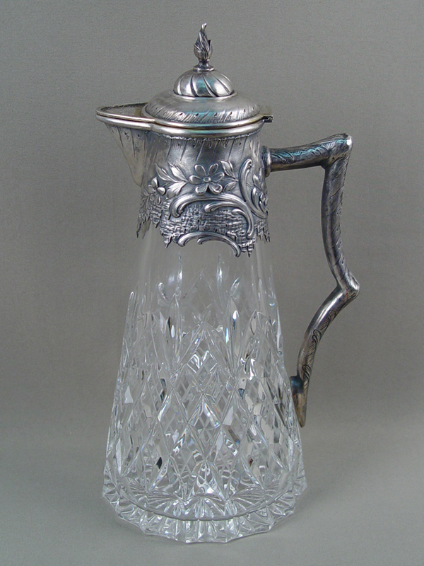 Графин, серебро 875(84ввозная) пробы, хрусталь, высота— 31см