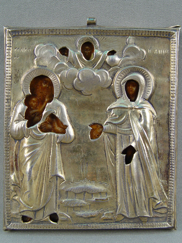 Икона «Святой Симеон Богоприимец иСвятая Пророчица Анна», дерево, левкас, темпера, 1816год, Москва; оклад— серебро 84пробы; размер: 10×9см