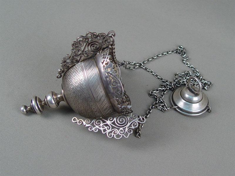 Лампада, серебро 84пробы, гравировка, общий вес— 245г