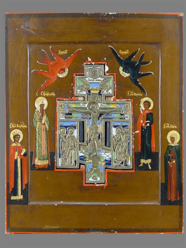 Икона «Распятие спредстоящими Святыми: Алексием, Евгением, Варварой иЛидией», дерево, левкас, темпера, медное литье, эмаль, 31×27см